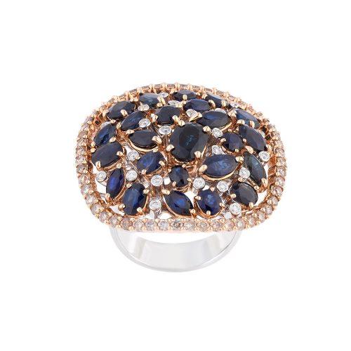Sapphire With Diamonds Ring