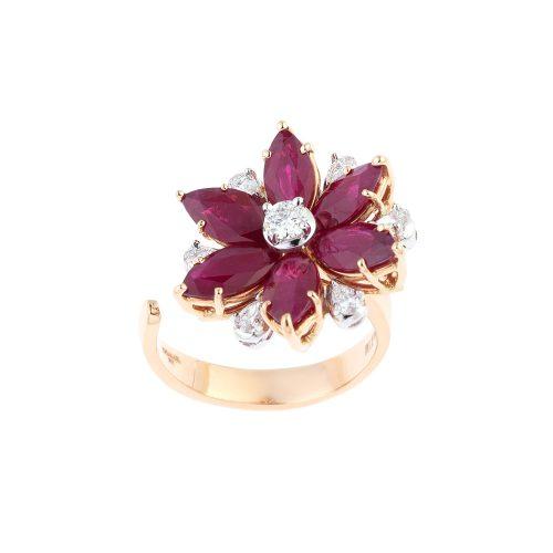 Ruby Flower Shape Ring
