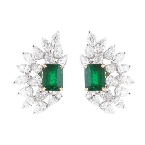 Emeralds Diamond Earrings