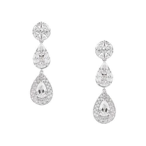 Chute White Diamond Earrings