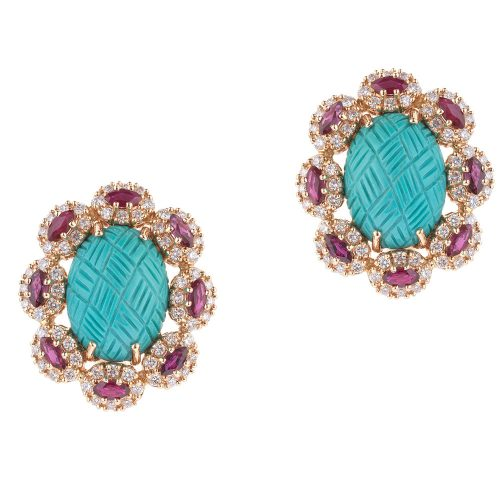 Turquoise Earrings With Ruby