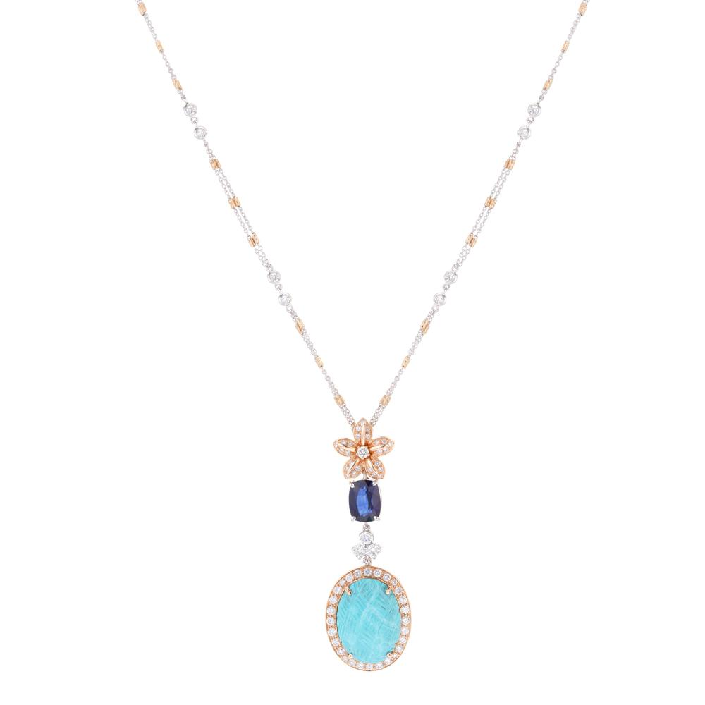 Turquoise With Diamond Pendant