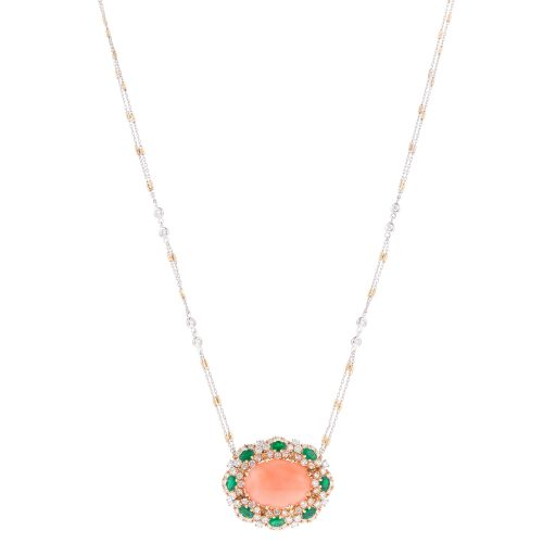 Coral Pendant With Diamond